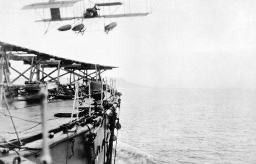 The first take-off from an underway ship, aboard the HMS Hibernia, 1912.