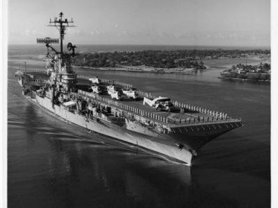 CVS-12 approaching Pearl Harbor, HI, circa 1969.