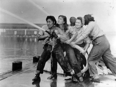 Female firefighters at Pearl Harbor, December 7th, 1941.