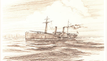 The fifth Hornet, which served from 1864-1865, was a sidewheel steamer.