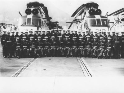 USS Hornet's Marine Detachment with the ship off Hong Kong, China on November 22nd, 1968.