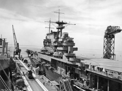 USS Hornet (CV-8) prior to completion at Newport News Shipbuilding & Drydock Co.