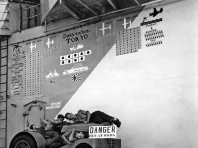 A day of rest aboard Hornet while anchored in the Marshall Islands, August 1944.