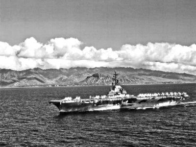 USS Hornet (CVA-12) off Diamond Head, Oaha Island, Hawaii during Hornet's 1957 Far East deployment.