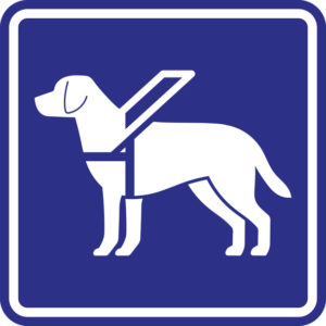 Guide dog sign. White silhouette on the blue background